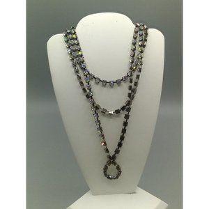 Vintage Long Chain Belt or Necklace, Gunmetal